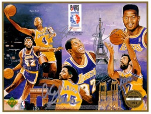 1991-92 Los Angeles Lakers autographed Upper Deck card sheet (Magic Johnson A.C. Green Byron Scott James Worthy)