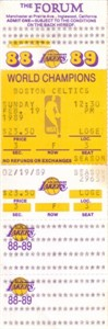 1989 Los Angeles Lakers vs. Boston Celtics full unused ticket