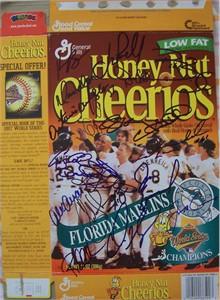 1997 Florida Marlins team autographed World Series Champions cereal box (Bobby Bonilla Kevin Brown Jeff Conine Livan Hernandez Charles Johnson Jim Leyland Gary Sheffield Devon White)