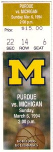 1994 Michigan vs. Purdue (Glenn Robinson) ticket stub