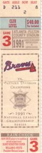 1991 NLCS Game 3 ticket stub (Atlanta Braves 10, Pittsburgh Pirates 3)