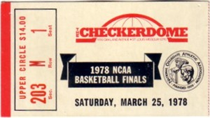 1978 NCAA Final Four Semifinals ticket stub (Kentucky & Duke Win)