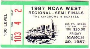 1987 NCAA Tournament West Regional Semifinals ticket stub (UNLV wins)