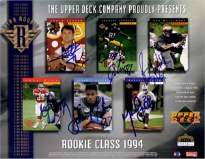 1994 NFL Rookies autographed Upper Deck card sheet (Marshall Faulk Johnnie Morton Dan Wilkinson)