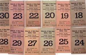 1925-26 Notre Dame lot of 12 student tickets (college football)