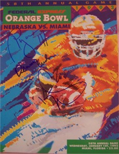 1991 Miami Hurricanes National Champions autographed 1992 Orange Bowl program (Dennis Erickson Ryan McNeil Kevin Williams)