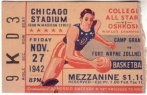1942 Oshkosh All-Stars & Fort Wayne Zollner Pistons National Basketball League (NBL) ticket stub