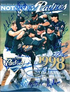1998 San Diego Padres team autographed program Tony Gwynn Trevor Hoffman Kevin Brown Steve Finley Greg Vaughn