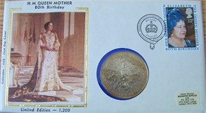 1980 Queen Mother 80th Birthday First Day Cover & One Crown coin (ltd. edit. 1200)