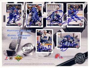 1992-93 Quebec Nordiques autographed Upper Deck card sheet (Ron Hextall Owen Nolan Joe Sakic Mats Sundin)