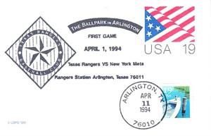 1994 Texas Rangers Ballpark at Arlington First Regular Season Game Gateway cachet