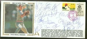 1988 USA Olympic Baseball Gold Medal Team autographed Gateway cachet envelope (Jim Abbott Tino Martinez Robin Ventura)