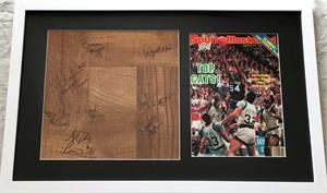 1984-85 Villanova Wildcats National NCAA Basketball Champions team autographed floor (Harold Jensen Dwayne McClain Gary McLain Ed Pinckney)