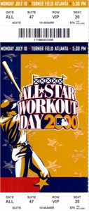 2000 MLB All-Star Workout Day & Home Run Derby full unused ticket (Sammy Sosa winner)