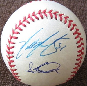 2001 Arizona Diamondbacks autographed NL baseball (Steve Finley Tony Womack)