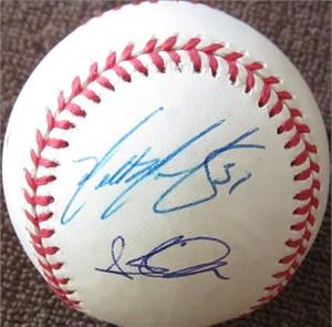 2001 Arizona Diamondbacks autographed NL baseball (Steve Finley Tony Womack)