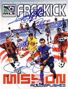 2002 US World Cup Team autographed MLS program Landon Donovan Cobi Jones