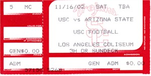 2002 USC Trojans vs. Arizona State Sun Devils college football ticket stub (Carson Palmer Heisman Trophy season)