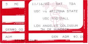 2002 USC Trojans vs. Arizona State Sun Devils college football ticket stub (Carson Palmer Heisman Trophy season)