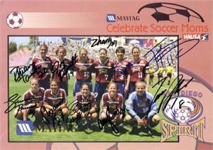 2002 WUSA San Diego Spirit team autographed photo (Shannon Boxx Joy Fawcett Julie Foudy Shannon MacMillan)
