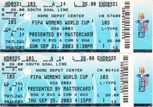 2003 FIFA Women's World Cup set of 2 Group D tickets (Australia China Ghana Russia)