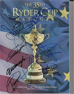 2004 Ryder Cup European Team autographed program (Sergio Garcia Padraig Harrington Bernhard Langer Colin Montgomerie)