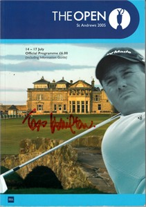 2005 Open Championship golf program autographed by 13 (John Daly Sergio Garcia Padraig Harrington Mark O'Meara)