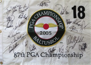 2005 PGA Championship embroidered golf pin flag autographed by 22 winners (Phil Mickelson Ray Floyd Gary Player Lee Trevino)