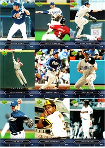 2005 San Diego Padres Upper Deck card set uncut sheet (Tony Gwynn Dave Winfield)