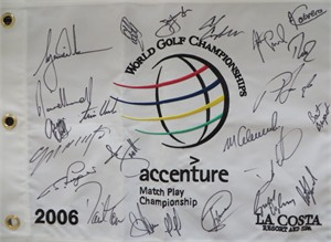 2006 World Golf Match Play Championship autographed pin flag Tiger Woods Angel Cabrera Darren Clarke Jim Furyk Padraig Harrington Bernhard Langer Adam Scott