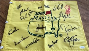 2008 Masters golf pin flag autographed by 15 winners (Billy Casper Fred Couples Nick Faldo Phil Mickelson Arnold Palmer)
