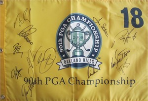 2008 PGA Championship golf pin flag autographed by 12 winners (Padraig Harrington Jason Day Lee Trevino)