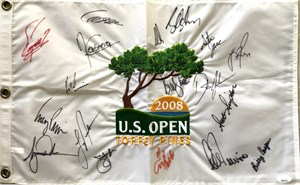 2008 US Open golf embroidered pin flag autographed by 14 winners (Billy Casper Ernie Els Jim Furyk Hale Irwin Lee Trevino)