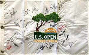 2008 US Open golf embroidered pin flag autographed by 18 winners (Billy Casper Ernie Els Dustin Johnson Justin Rose)