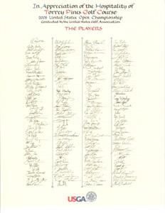 2008 U.S. Open golf player signature scroll USGA volunteer gift MINT (Tiger Woods wins 14th major)