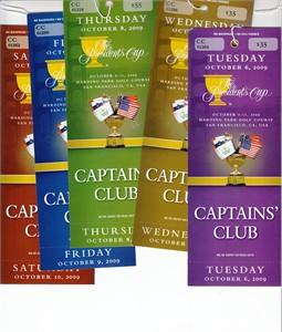 2009 Presidents Cup partial set of Captains' Club tickets