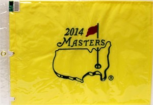 2014 Masters golf pin flag (Bubba Watson wins second green jacket)