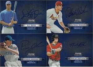 2012 Bowman Sterling lot of 4 certified autograph cards (D.J. Davis Nolan Fontana Pierce Johnson Patrick Wisdom)