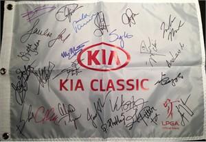2013 LPGA Kia Classic golf pin flag autographed by 24 (Beatriz Recari Paula Creamer Stacy Lewis Inbee Park Lexi Thompson Karrie Webb)