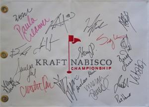 2013 LPGA Kraft Nabisco Championship embroidered canvas golf pin flag autographed by 20 (Paula Creamer Stacy Lewis Ai Miyazato Inbee Park Yani Tseng Karrie Webb)