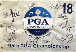 2013 PGA Championship embroidered golf pin flag autographed by 10 winners (Jason Day Jason Dufner Phil Mickelson)