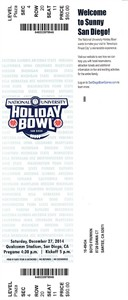 2014 Holiday Bowl game full ticket (USC Trojans 45 Nebraska 42)