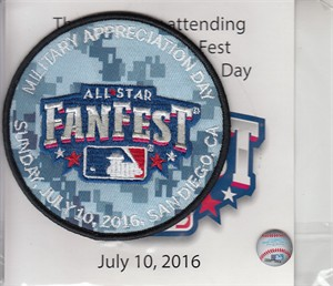 2016 Major League Baseball All-Star FanFest Military Appreciation Day patch MINT