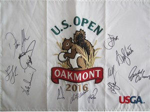 2016 US Open golf embroidered pin flag autographed by 13 winners (Dustin Johnson Jordan Spieth Ernie Els)