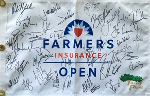 2017 Farmers Insurance Open autographed golf pin flag (Phil Mickelson Rickie Fowler Jon Rahm Justin Rose)