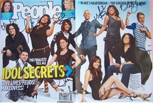 2007 American Idol autographed People cover (Jordin Sparks Melinda Doolittle Blake Lewis Sanjaya Malakar)