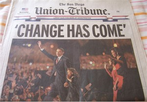 2008 Barack Obama Wins San Diego Union-Tribune newspaper