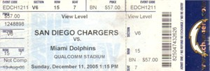 2005 San Diego Chargers vs Miami Dolphins full ticket (Antonio Gates career high 13 catches)