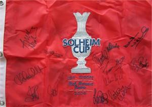 2009 European Solheim Cup Team autographed embroidered golf pin flag (Laura Davies Alison Nicholas Anna Nordqvist Suzann Pettersen)