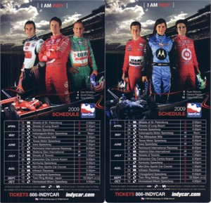 2009 Indy Racing League (IRL) schedule magnet set (Scott Dixon Dario Franchitti Danica Patrick Dan Wheldon)